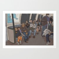 SUBWAY CROWD Art Print