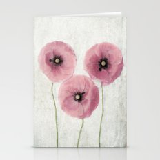 Pink Vintage Poppies II Stationery Cards