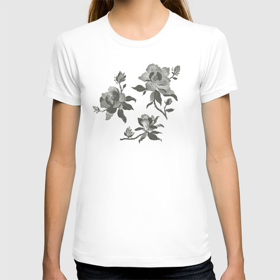 Black Magnolia Pattern T-shirt