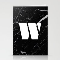 Black Marble - Alphabet W Stationery Cards