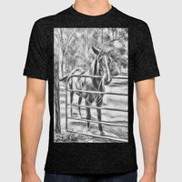 Calm horse standing near gate in Queensland Mens Fitted Tee Tri-Black SMALL