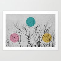 Modern Winter Birds Art Print