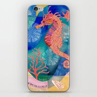 Seahorse collage iPhone & iPod Skin