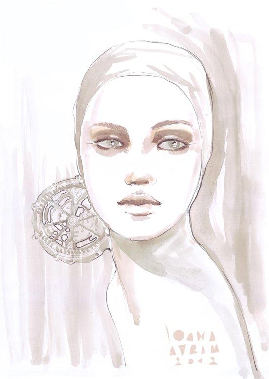 Fade fashion illustration portrait Art Print