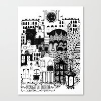 Midnight In Barcelona B&… Canvas Print