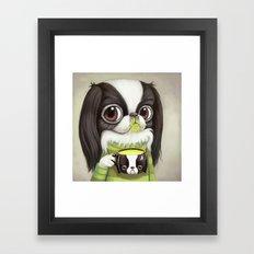 Japanese Chin Sips Match… Framed Art Print