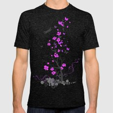 Purple Floral  Mens Fitted Tee Tri-Black SMALL