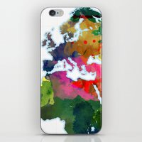 Watercolor World Map #3 iPhone & iPod Skin