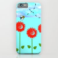Sunflowers and bee iPhone 6 Slim Case