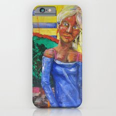 Girl in blue dress iPhone 6 Slim Case