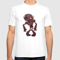 Rusty Zombie Robot Mens Fitted Tee White SMALL
