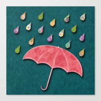 Canvas Print featuring It's raining, it's pouring by Elephant Trunk Studio