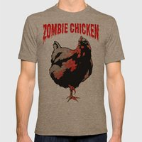 All Fear The Zombie Chicken! Mens Fitted Tee Tri-Coffee SMALL
