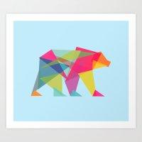 Fractal Bear - Neon Colo… Art Print