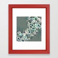 Diagonal Flower – Blue… Framed Art Print