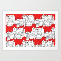 Kitchen Shelves - Red Art Print