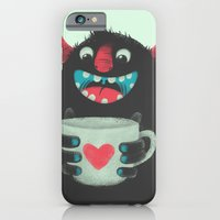 coffee iPhone & iPod Cases featuring Demon with a cup of coffee by Lime