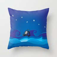Throw Pillow featuring Pirate Ship At The Sea by Mangulica