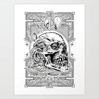 Skullflower Black and White  Art Print
