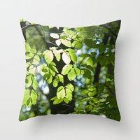Light in the leaves Throw Pillow