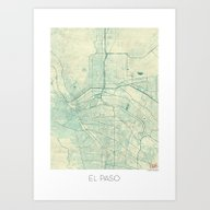 El Paso Map Blue Vintage Art Print