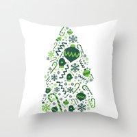 Festive Christmas Print Throw Pillow