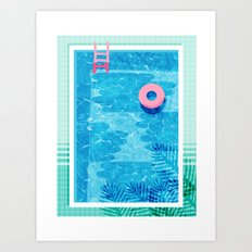 Chillin' - poolside palm springs vacation resort tropical swim swimming retro neon throwback 1980s Art Print