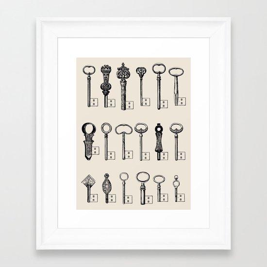 Usb Keys Framed Art Print