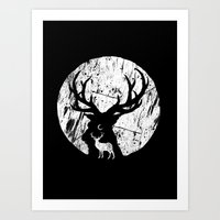 Deer at night Art Print