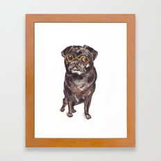 Black Pug/ Mix with Glasses Framed Art Print