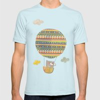 Bear in the air Mens Fitted Tee Light Blue SMALL
