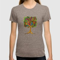 Tree of Life Womens Fitted Tee Tri-Coffee SMALL