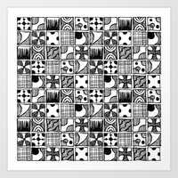 Black and White Abstract Squares Art Print