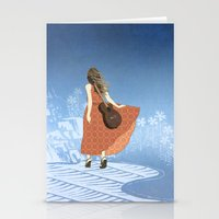 Guitar Girl Stationery Cards