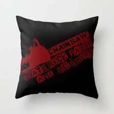 chainsaw wins Throw Pillow