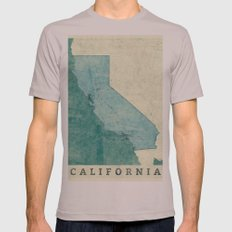California State Map Blue Vintage Mens Fitted Tee Cinder SMALL