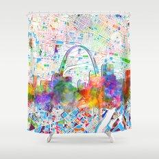 st louis city skyline map Shower Curtain