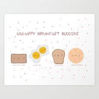 Unhappy Breakfast Buddies Art Print