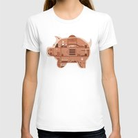 Piggy Bank Womens Fitted Tee White SMALL