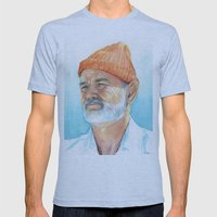 Bill Murray as Steve Zissou Mens Fitted Tee Athletic Blue SMALL