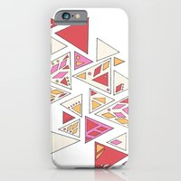 Geometric mosaic triangle pattern - red and pink iPhone 6 Slim Case