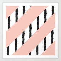 Modern Pink Coral Black … Art Print