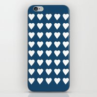 64 Hearts Navy iPhone & iPod Skin