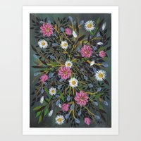 Teal Flowers Art Print