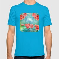 Poppies Mens Fitted Tee Teal SMALL