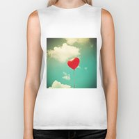 Red Heart Balloon in a Vintage Turquoise Sky  Biker Tank