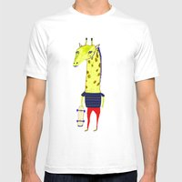 Giraffe Dude. Mens Fitted Tee White SMALL