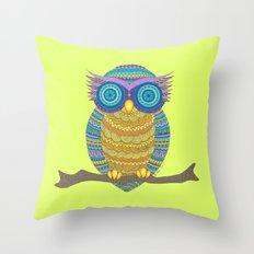 Henna Owl Throw Pillow