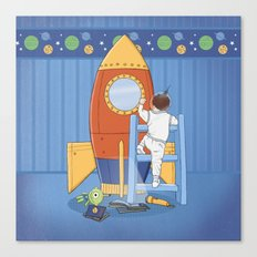 Goodnight, I'm going to my Space Rocket Canvas Print
