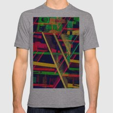 Industrial Abstract Green Mens Fitted Tee Athletic Grey SMALL